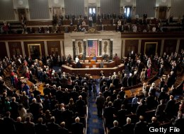 Members of the 113th US House of Representatives recite the Pledge of Allegience during the opening session at the US Capitol in Washington, DC, on January 3, 2013. (SAUL LOEB/AFP/Getty Images)