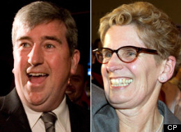 Former education minister Kathleen Wynne's campaign to replace Dalton McGuinty as Ontario's next premier got a big boost today when Glen Murray dropped out of the race to endorse her. (CP)