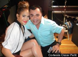 Jenifer Lopez junto al periodista Oscar Petit con quien tiene una linda amistad.