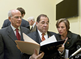 From left, Rep. Peter Welch (D-Vt.), Rep. Jerrold Nadler (D-N.Y.) and Rep. Jan Schakowsky (D-Ill.) finish a news conference on Capitol Hill in Washington, Wednesday, Jan. 16, 2013. (AP Photo/J. Scott Applewhite)