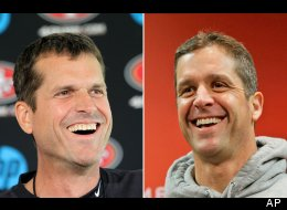 In a July 27, 2012 file photo, San Francisco 49ers head coach Jim Harbaugh, left, smiles during a news conference at the teams headquarters in Santa Clara, Calif. At right, in a Jan. 16, 2013 file photo, Baltimore Ravens head coach John Harbaugh smiles during a new conference at the teams practice facility in Owings Mills, Md. (AP Photo/File)