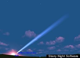 Comet Nevski-Novichonok (ISON) as it may appear at sunset on Nov. 29, if it survives its close encounter with the sun the day before.