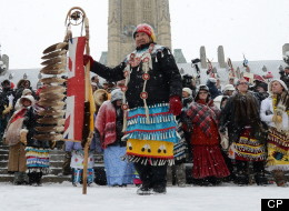 Native dancers rally during an 'Idle No More' gathering on Parliament Hill in Ottawa on Monday, Jan. 28, 2013. THE CANADIAN PRESS/Sean Kilpatrick