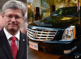 The government says it cost more than $1 million to ship Prime Minister Stephen Harper's armoured cars to and from India for his visit last year. (CP)