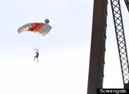 When Johnny Korthuis posted a video online of a successful base jump off Lethbridge's High Level Bridge, a few unexpected things happened. (Screengrab)