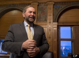 NDP leader Tom Mulcair talks about the fresco paintings in his office Tuesday January 29, 2013 in Ottawa which are being restored. (Adrian Wyld/CP)
