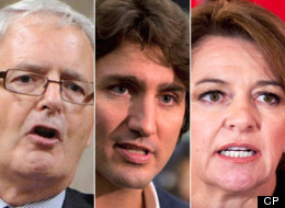 The nine people vying for the federal Liberal leadership took part in a low-key, interview-style debate in Winnipeg today. (Canadian Press Photos)