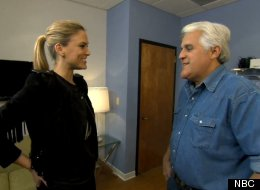 Bar Refaeli surprises Jay Leno when he asks to recreate her Super Bowl commercial kiss