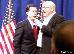 Stephen Colbert sang the national anthem with Rep. Joe Crowley (D-N.Y.) at the House Democratic retreat.