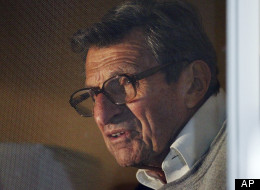 Penn State football coach Joe Paterno address supporters from a window at his home, Tuesday, Nov. 8, 2011, in State College, Pa.