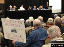 Penticton residents rally for upgrades at what they call an outdated hospital. (Deborah Pfeffer, Castanet.net)